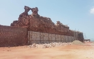بخشی از دیوار قعله پرتقالیهای جزیره هرمز فرو ریحت
