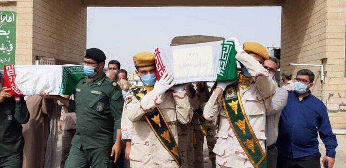 انتقال پیکر ۶۳ شهید دفاع مقدس از مرز شلمچه به کشور