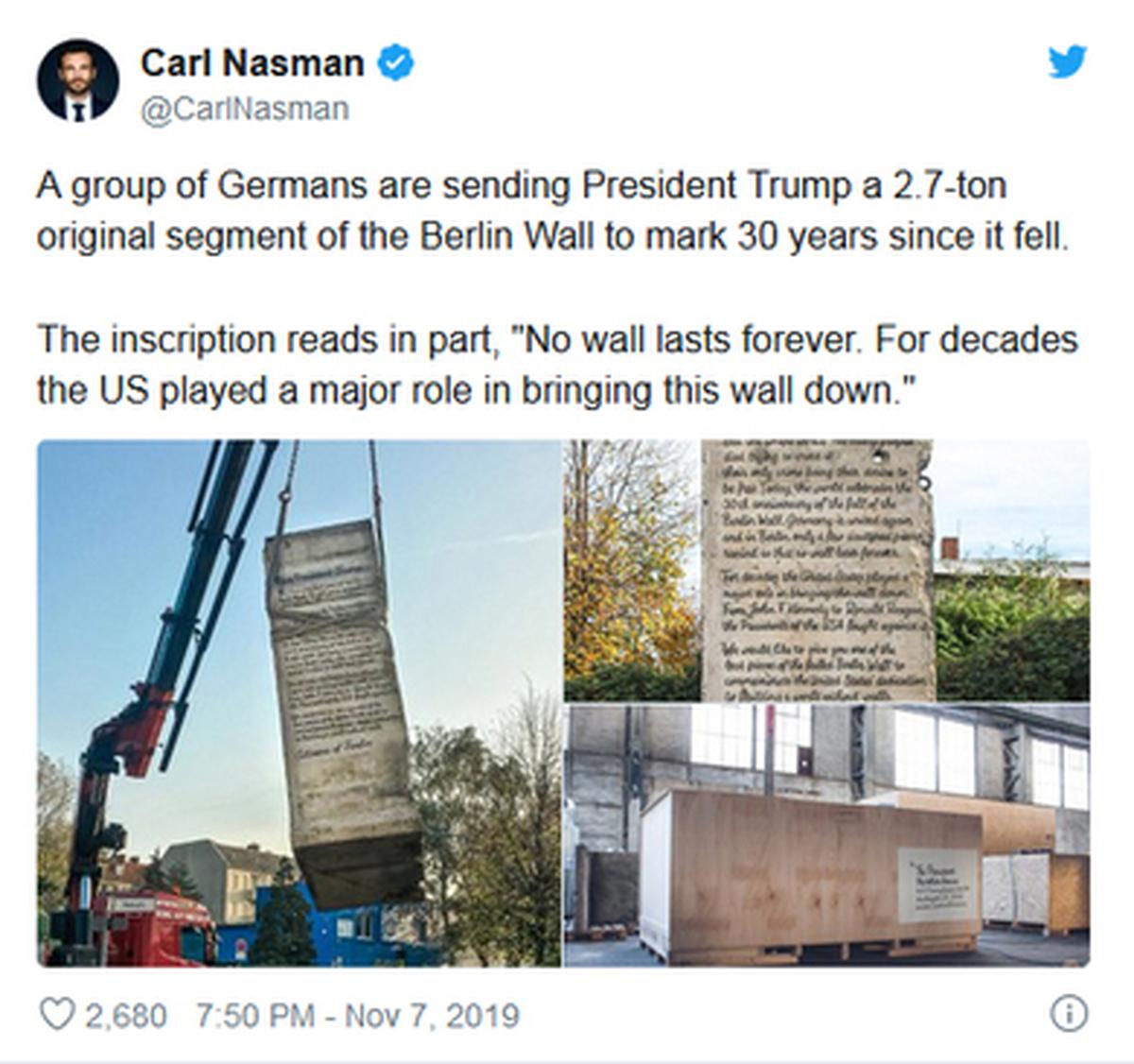 هدیه شهروندان آلمانی به ترامپ فرستاده شد: تکهای 2.7 تنی از دیوار برلین