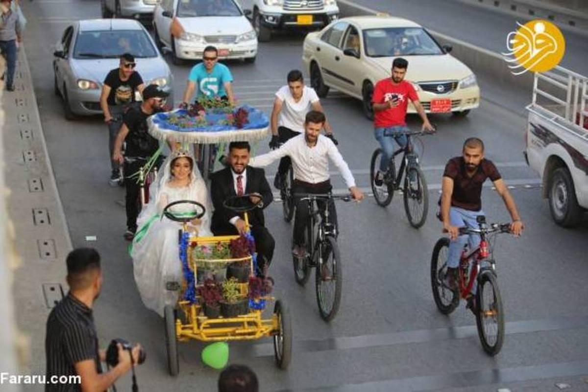 ماشین عروس عجیب زوج عراقی سوژه شد