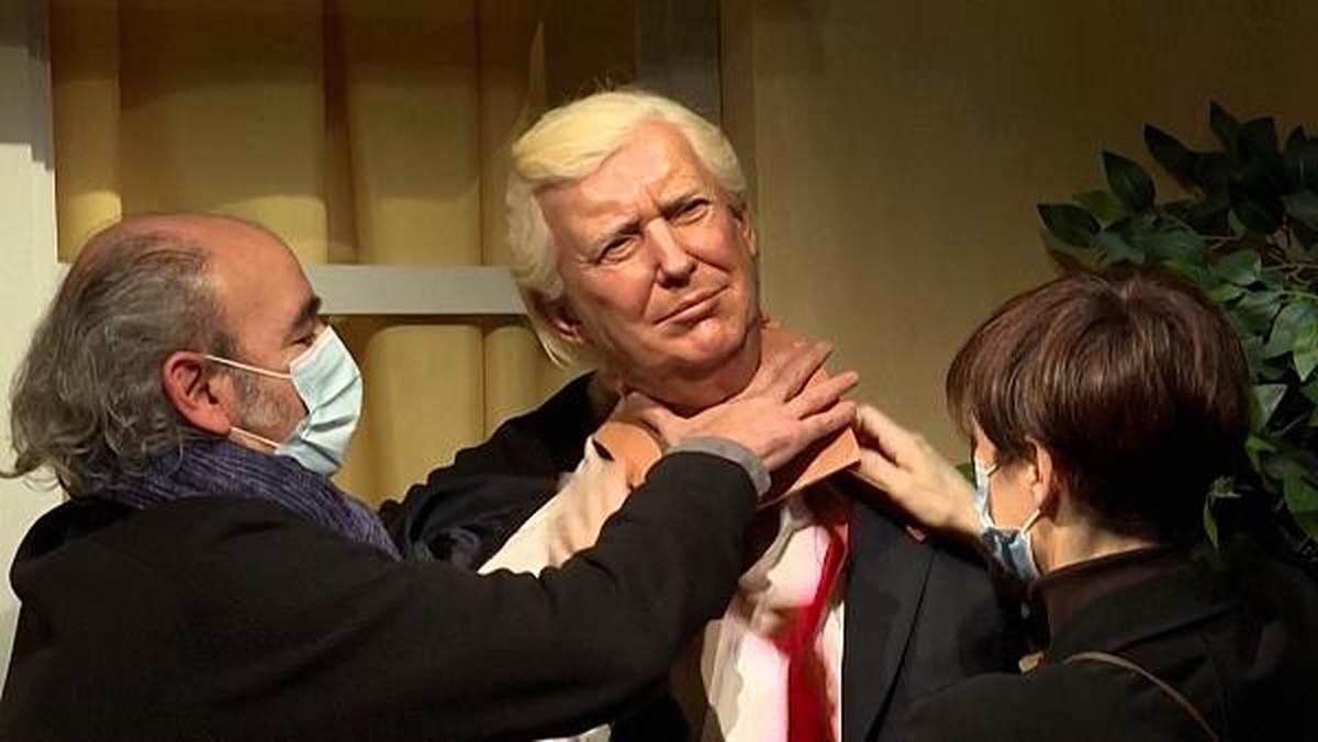 مجسمه خندان بایدن جای ترامپ را گرفت