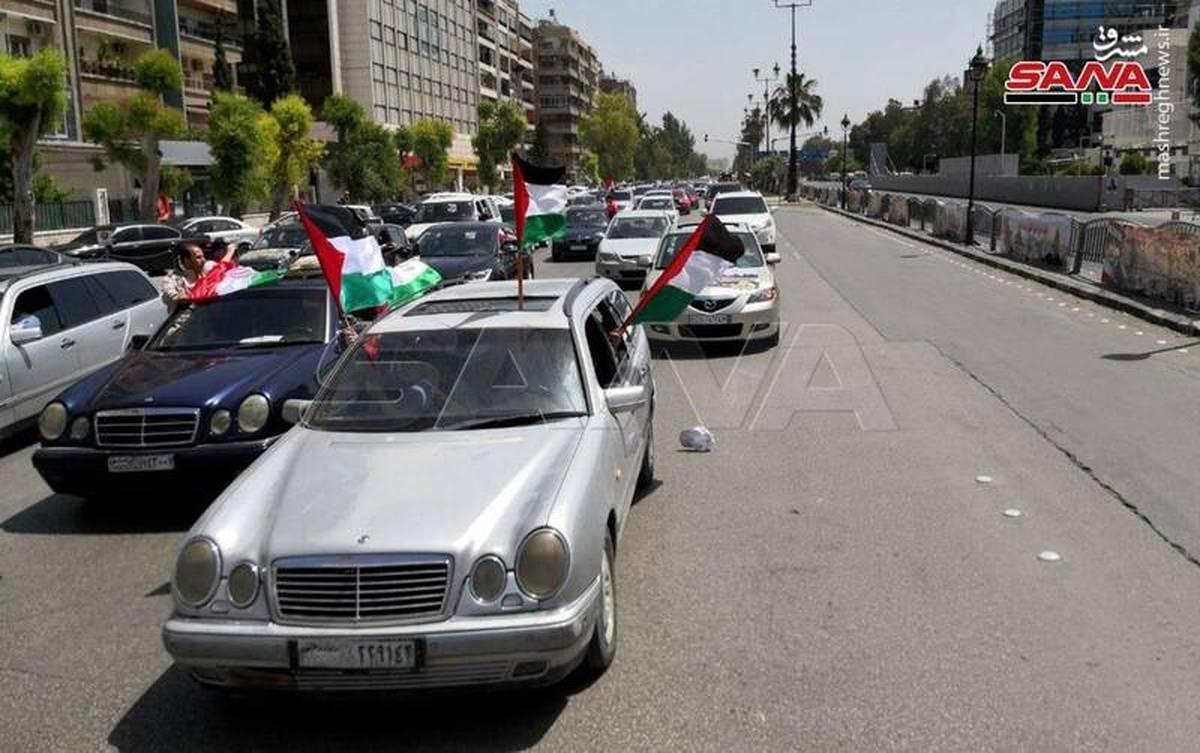 برگزاری راهپیمایی روز قدس در سوریه با کاروان خودرویی