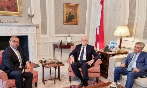 دیدار نجیب میقاتی و وزیر انگلیسی با محوریت حمایت از لبنان