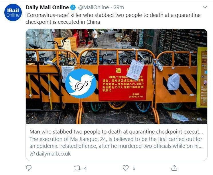 اعدام اولین قاتل کرونایی در چین
