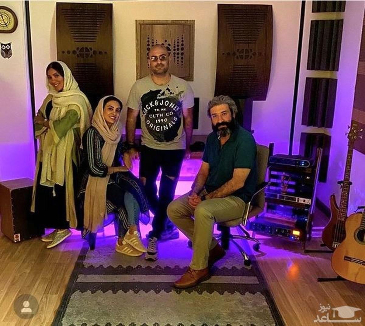 حدیثه تهرانی و همسرش در جمعی دوستانه