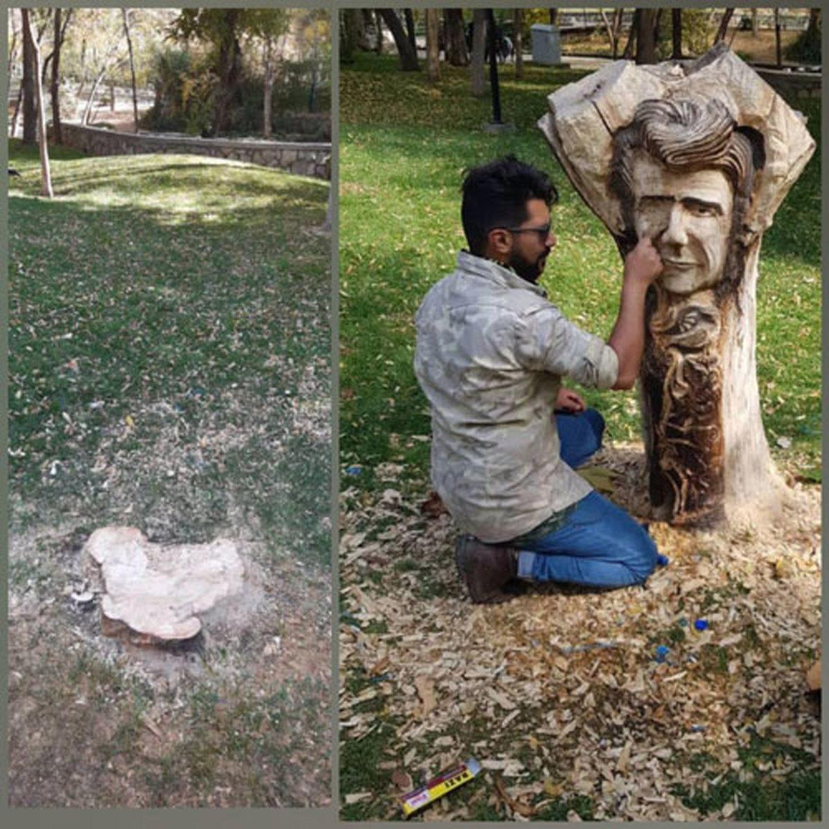 تندیس شجریان در پارک ملت مشهد قطع شد!